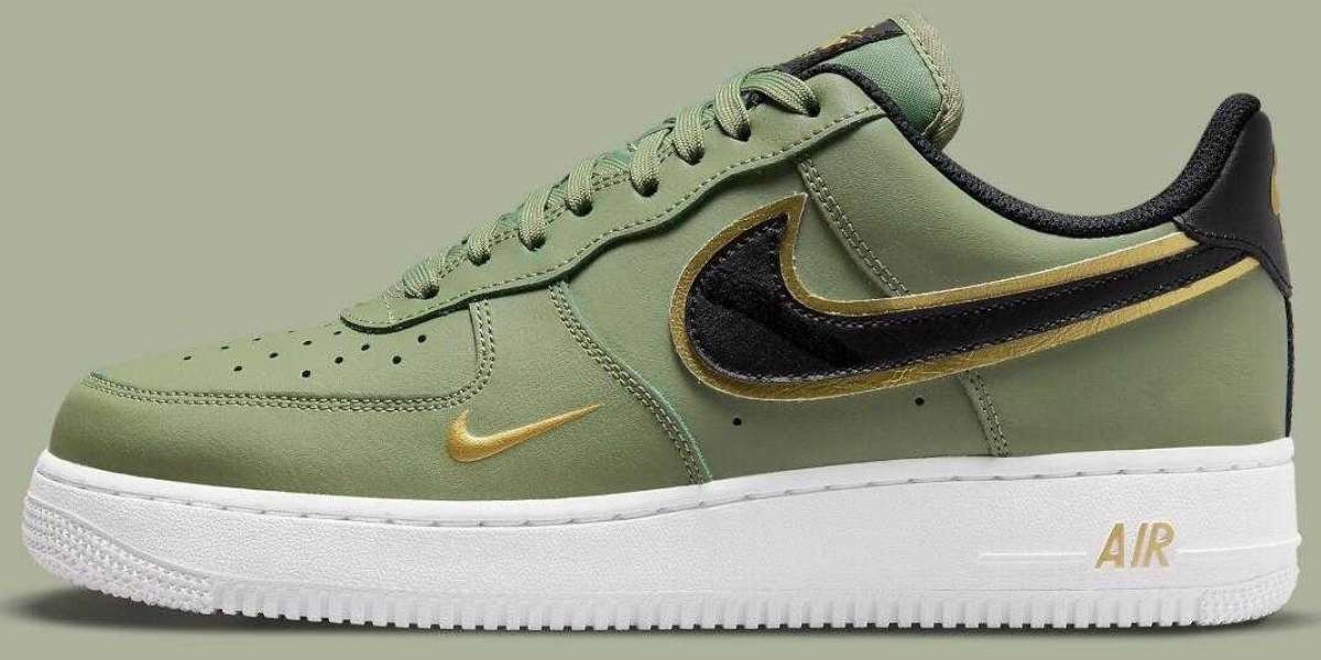 Nike Air Force 1 Olive Green Got Golden Swoosh-Accented
